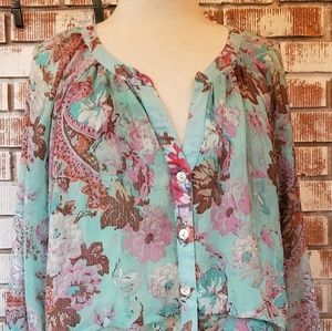 Anthro Figs and Flowers Floral Sheer Blouse